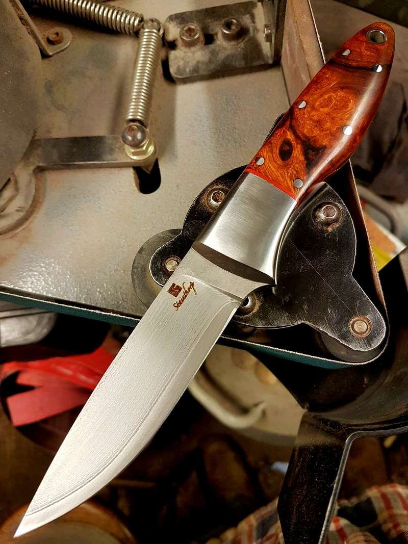 Stainthorp Knives Monarch. VG10 Suminagashi steel, dovetail bolsters and desert ironwood scales