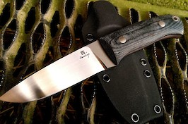 Bushcraft knife in the Lars Falt style, made in RWL34 and black canvas micarta