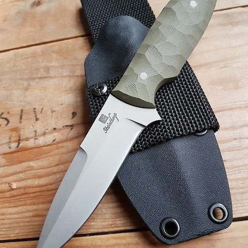 Tac-1 tactical utility knife, in Sandvik 14C28N and green G10